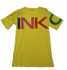 Pinko jurk geel logo kleuren