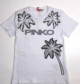 Pinko t-shirt wit palm en logo  zwart