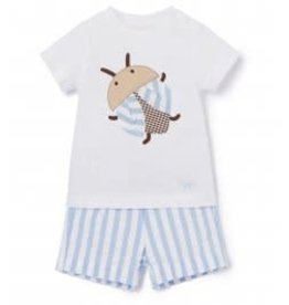 Il Gufo short streep + t-shirt kever set