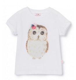 Il Gufo T-shirt uil wit + roze