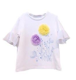 Elsy T-shirt wit bloem lila geel