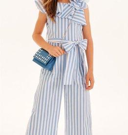 Elsy jumpsuit streep licht blauw wit