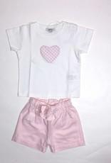 Aletta t-shirt wit + roze vichy hart