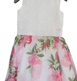 Guess jurk ecru bloemen groen roze