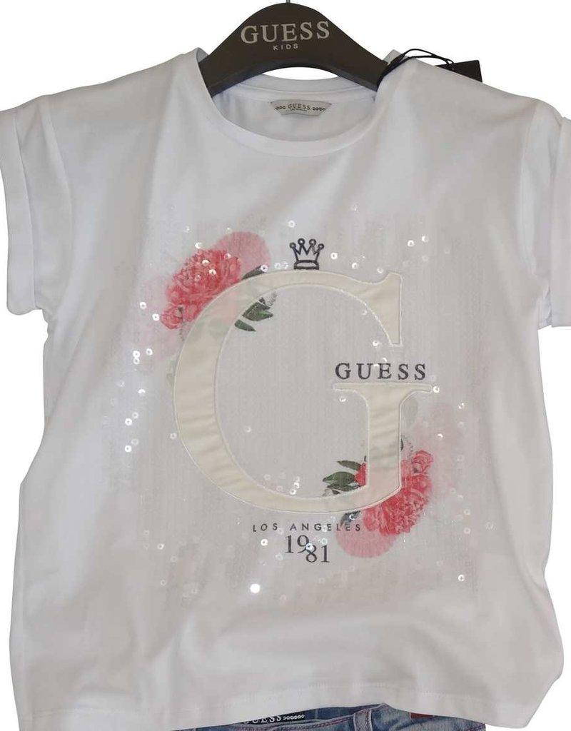 Guess T-shirt wit km bloem glitters