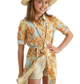 Rtb jurk kort multicolor oranje oker l blauw knopen