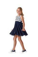 Rtb jurk blauw ecru wit voile onder grote ruit boven
