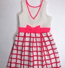 Rtb jurk ecru fchsia fluo ruit onderaan