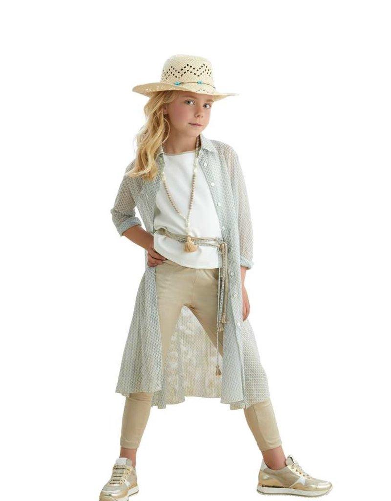 Rtb jurk lang overgooier aqua groen ecru knopen