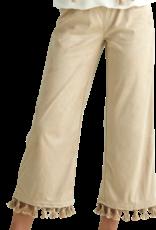 Rtb broek beige suedine met flosjes