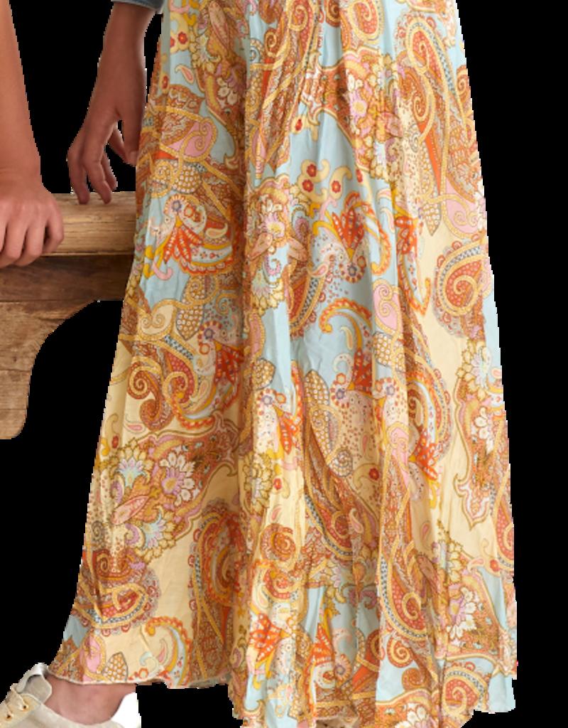 Rtb broekrok broek wijd multicolor oranje oker lichtblauw