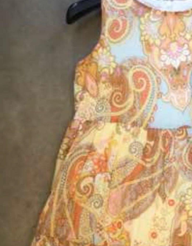 Rtb jurk multicolor oranje oker l blauw stroken