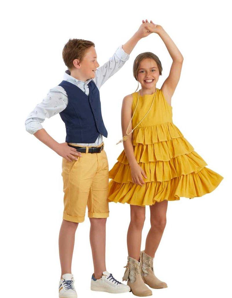 Rtb jurk oker geel zwier stroken