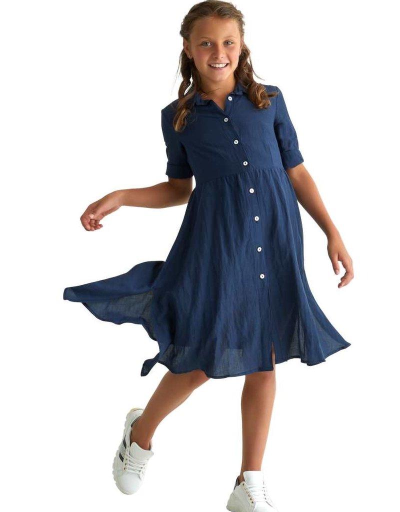 Rtb jurk lang blauw knopen