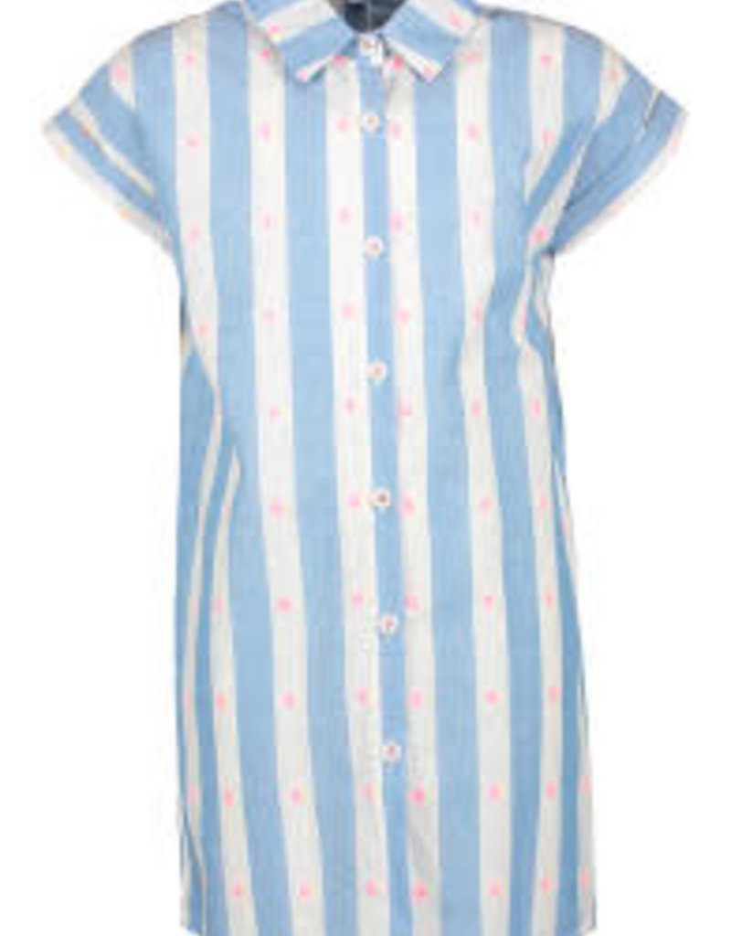 Blue Bay jurk streep blauw wit + fluo stip Serina