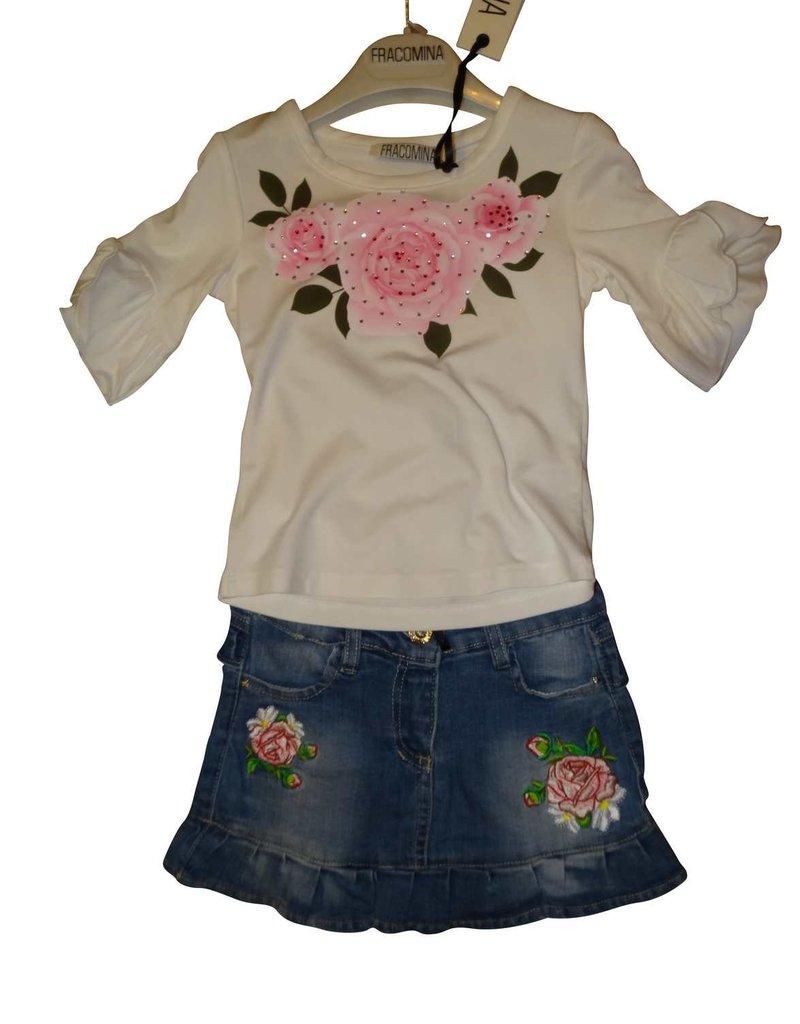 Fracomina T-shirt wit wijde mouw rozen