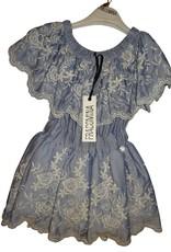Fracomina jurk blauw wit streepje opdruk kant