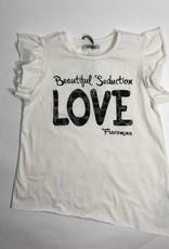 Fracomina T-shirt wit love glitter goud