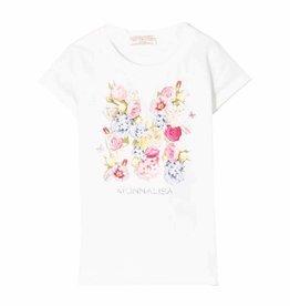 Monnalisa T-shirt wit bouquet bloemen