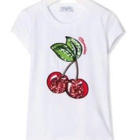 Monnalisa T-shirt wit kersen pailletten