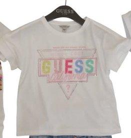 Guess T-shirt wit km logo kleur