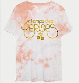 Le temps des cerises T-shirt wit peach opdruk logo