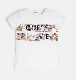 Guess T-shirt wit km streep glitter