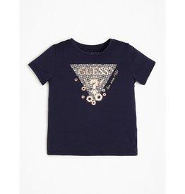 Guess T-shirt blauw donker logo goud