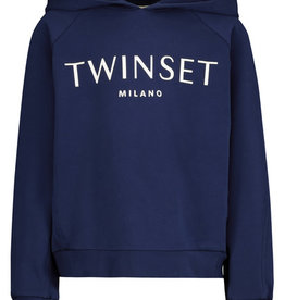 Twinset sweater kap jogging cobalt blauw