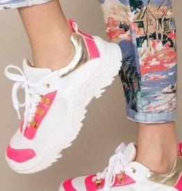 Twinset schoenen wit goud fluo roze