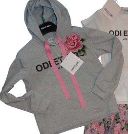 Odi et Amo sweater grijs borduur roos