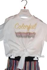 Jeycat T-shirt ecru colourful