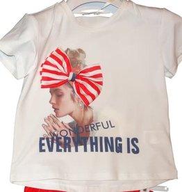 Fun Fun T-shirt wit meisje strik