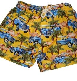 Selini zwemshort safari auto kameel geel