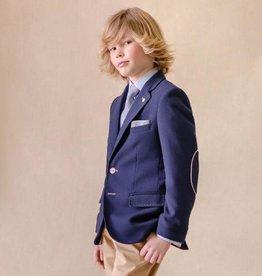 Varones blazer blauw beige stiksel