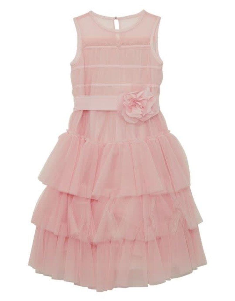 Aletta jurk roze tule ceintuur bloem limited edition