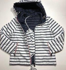 Jott jas met kap omkeerbaar streep/blauw