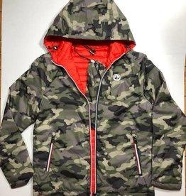 Jott jas met kap omkeerbaar camouflage/rood