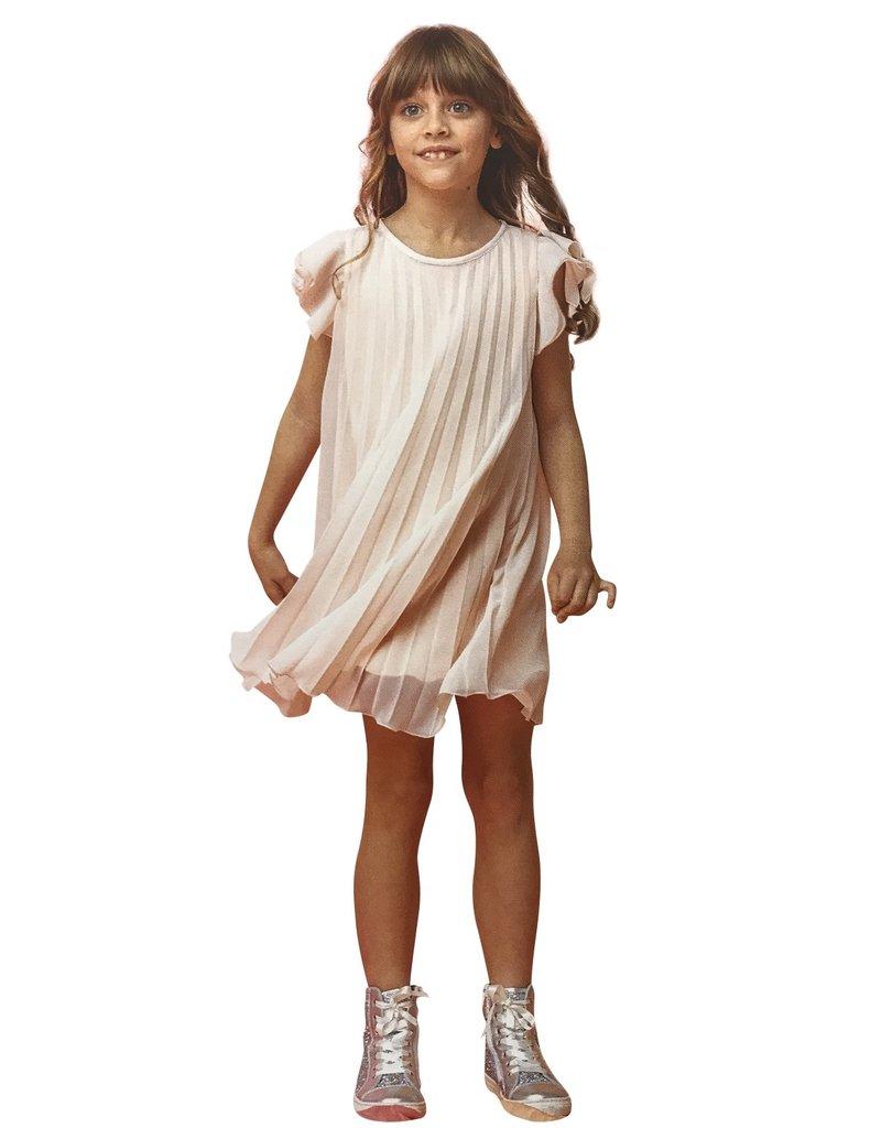 Aletta jurk voile plissé zalm nude