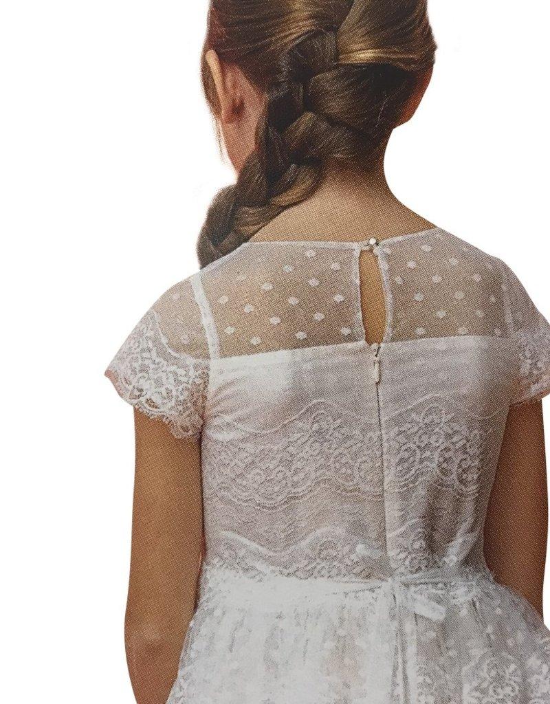 Aletta jurk zacht roze met kant met stipjes