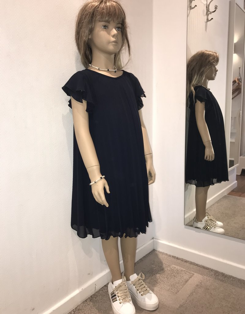 Aletta jurk voile plissé blauw