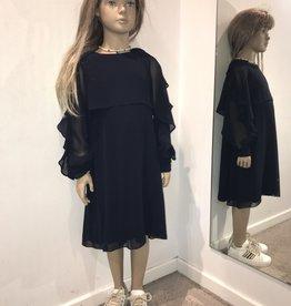 Aletta jurk open lang mouw rouches blauw