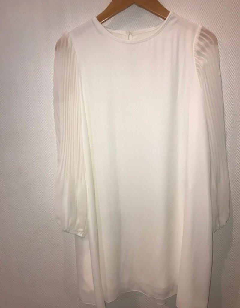 Aletta jurk mouw lang plissé ecru