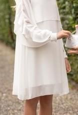 Aletta jurk open lang mouw rouches ecru