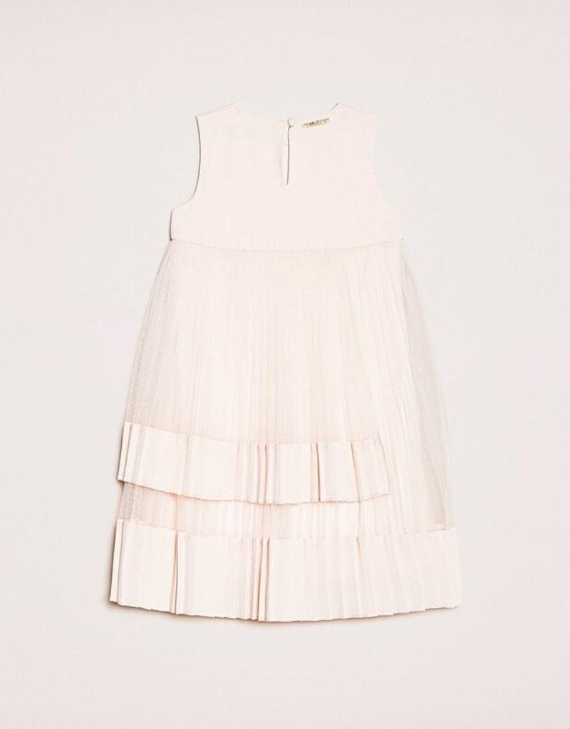 Twinset jurk plissé tule nude