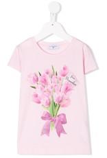 Monnalisa T-shirt roze bloemen tulpen