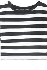 Monnalisa bloes streep wit zwart franjes