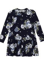 Monnalisa 1 jurk blauw  met rozen