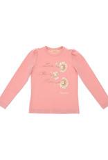 Monnalisa 1 T-shirt zalm/rose lm ecru roos