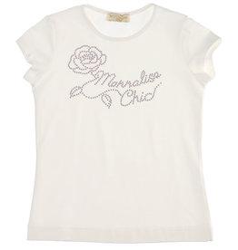 Monnalisa 1 T-shirt km ecru logo strass